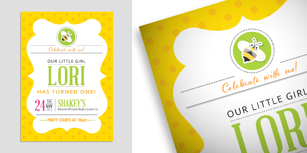 Bumblebee Birthday Party Invitations via Happy Hands Project