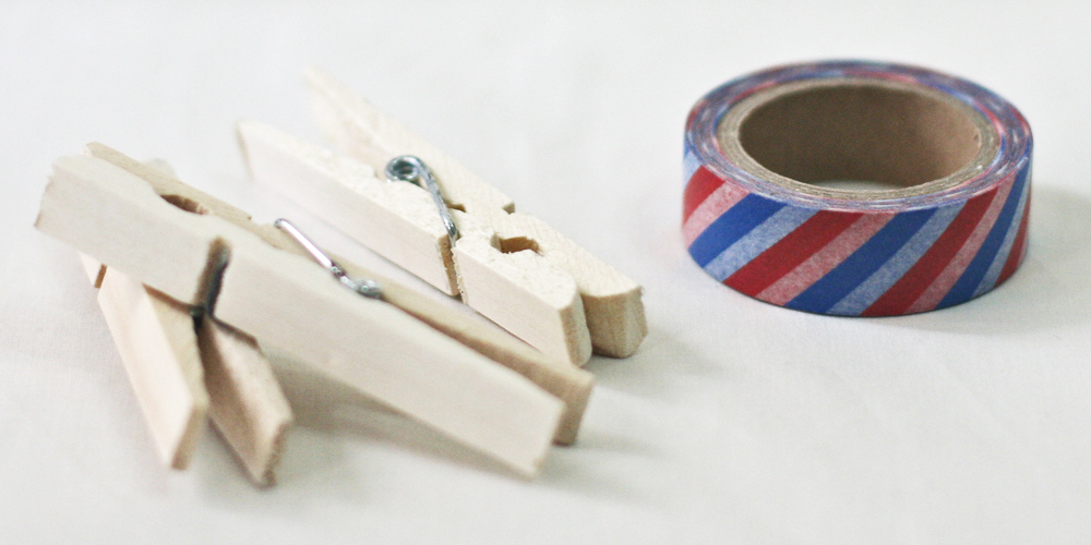 Wooden Pegs and Washi Tape DIY via Happy Hands Project