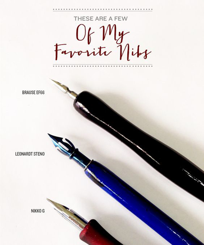 Favourite Pointed Pen Nibs via Happy Hands Project