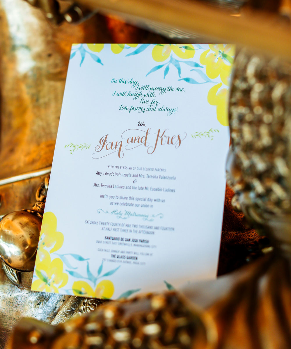 Ian-Kres Wedding Invites via Happy Hands Project