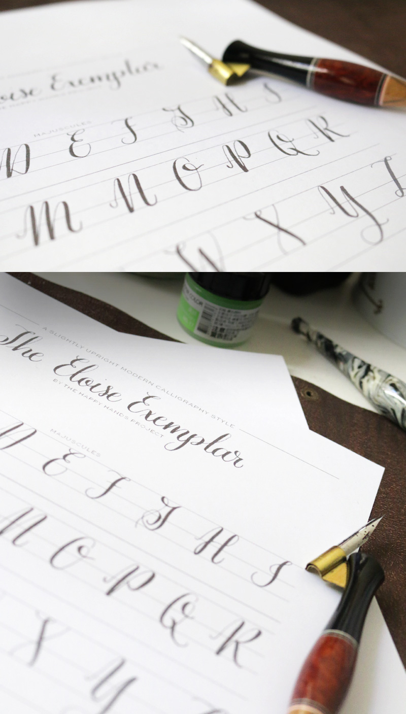 Free printable modern calligraphy alphabet happy hands