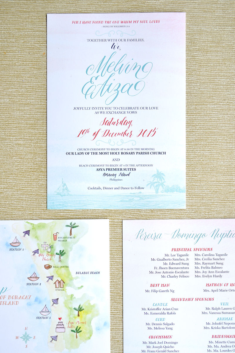 Boracay Calligraphy Wedding Invitations via Happy Hands Project