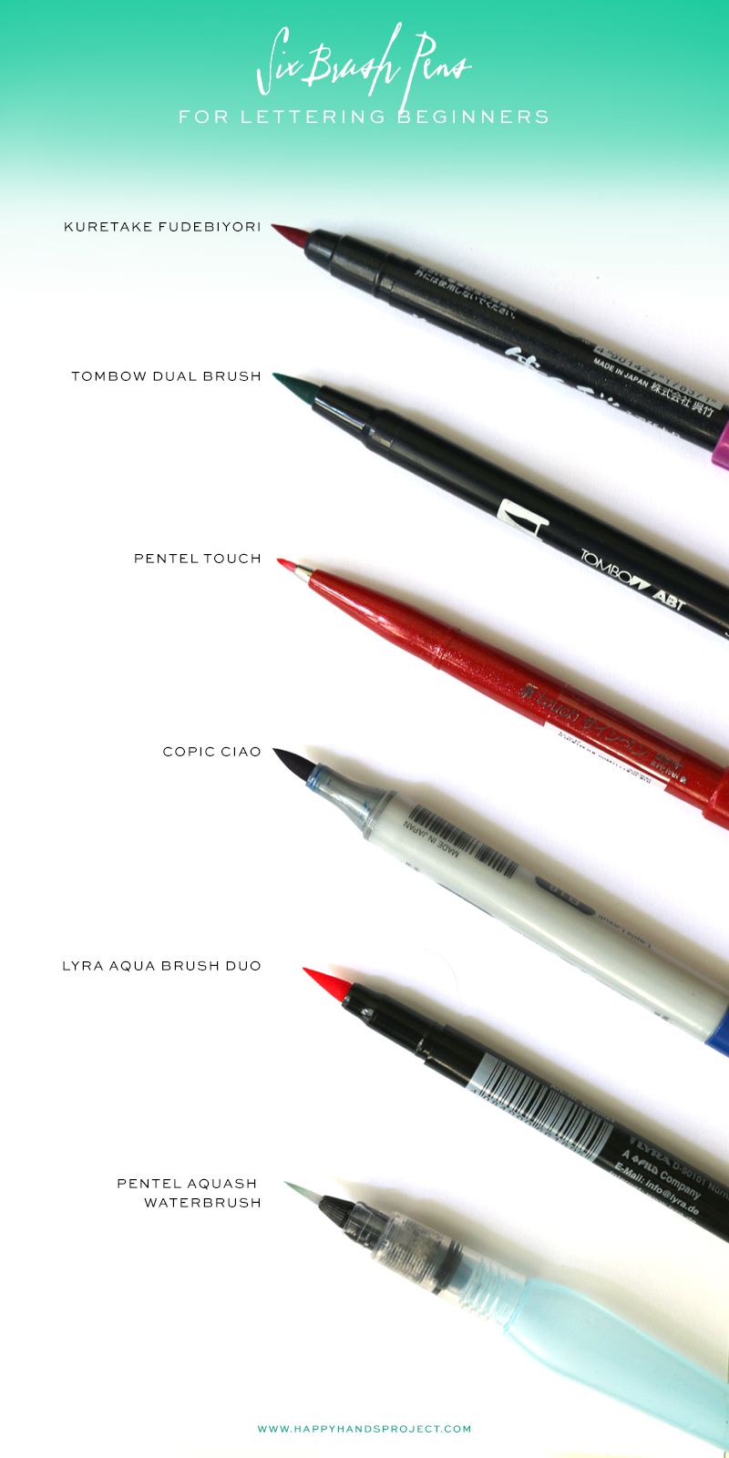 Brush Pens For Beginners via Happy Hands Project
