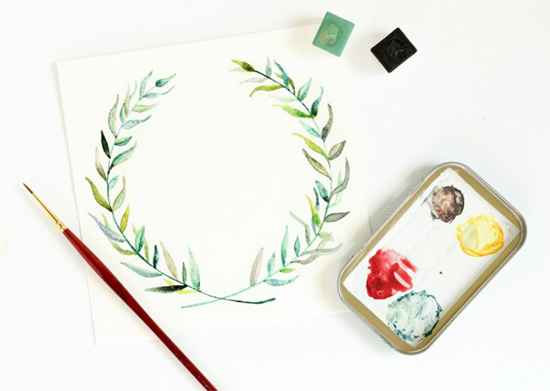Paint Watercolour Leaves to frame your calligraphy from The Postman's Knock | Happy Hands Project