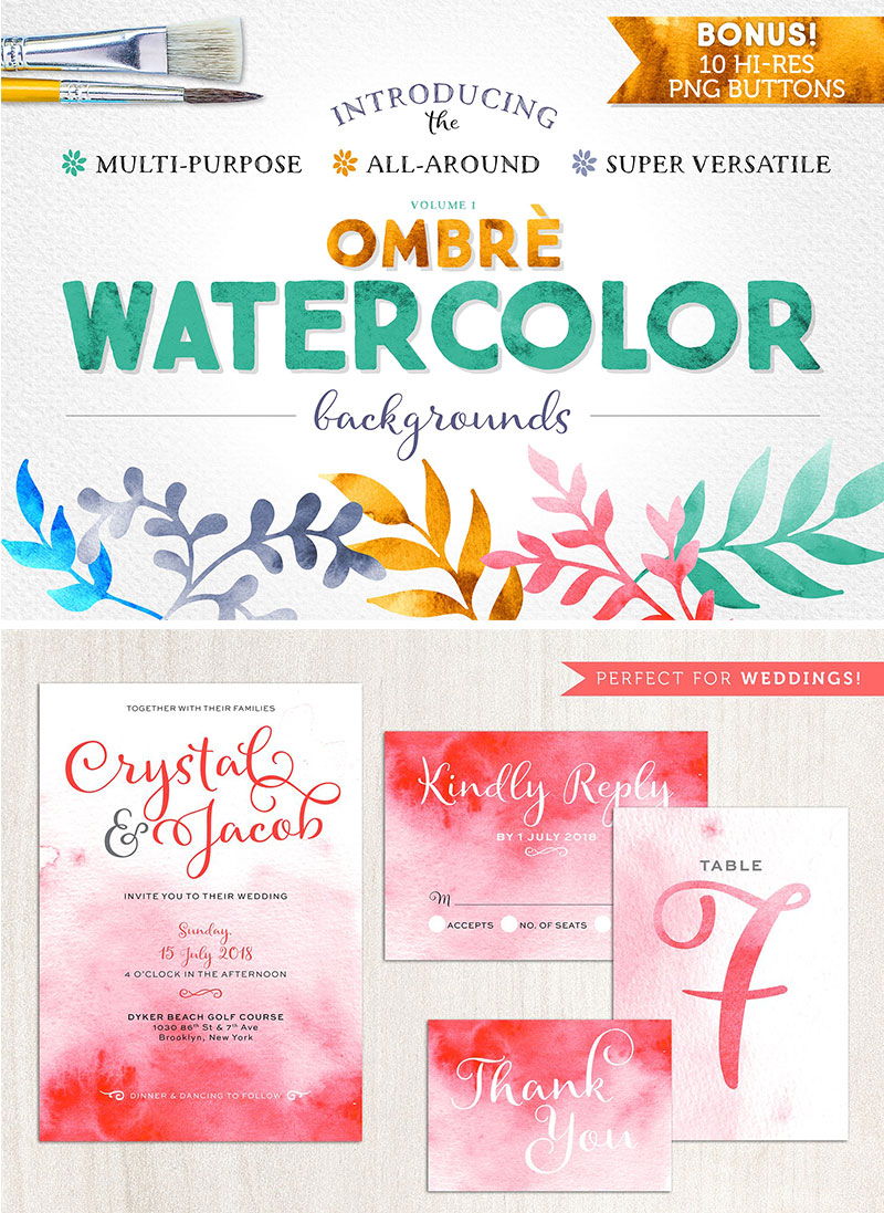 Faded Watercolour Backgrounds via Happy Hands Project