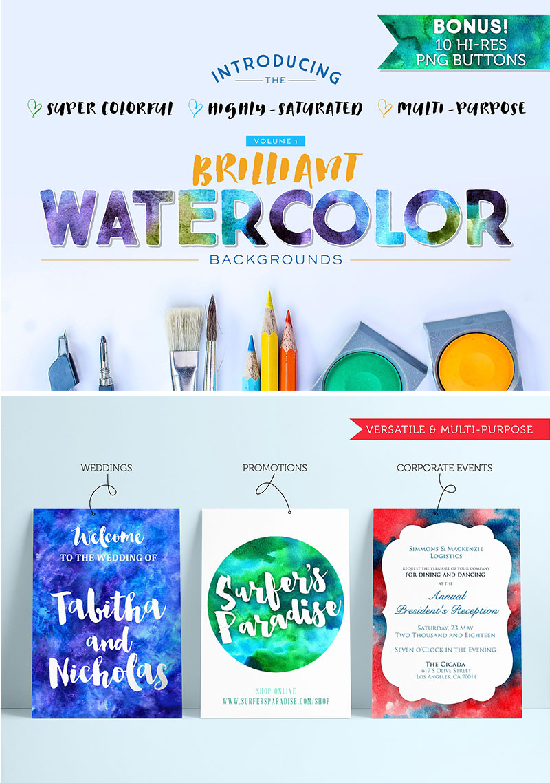 Watercolour Backgrounds via Happy Hands Project