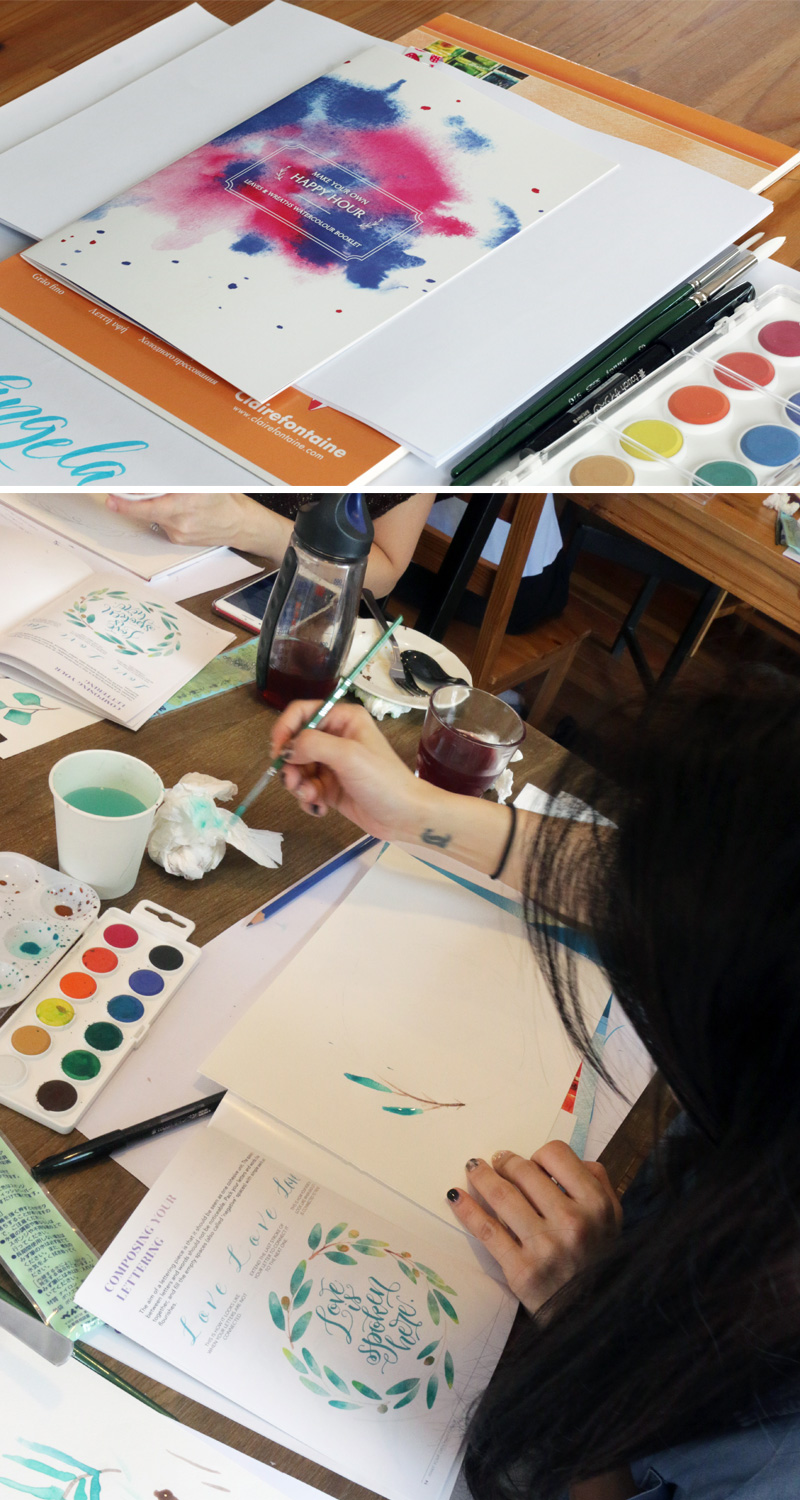 Watercolour Leaves Wreaths-Workshop via Happy Hands Project