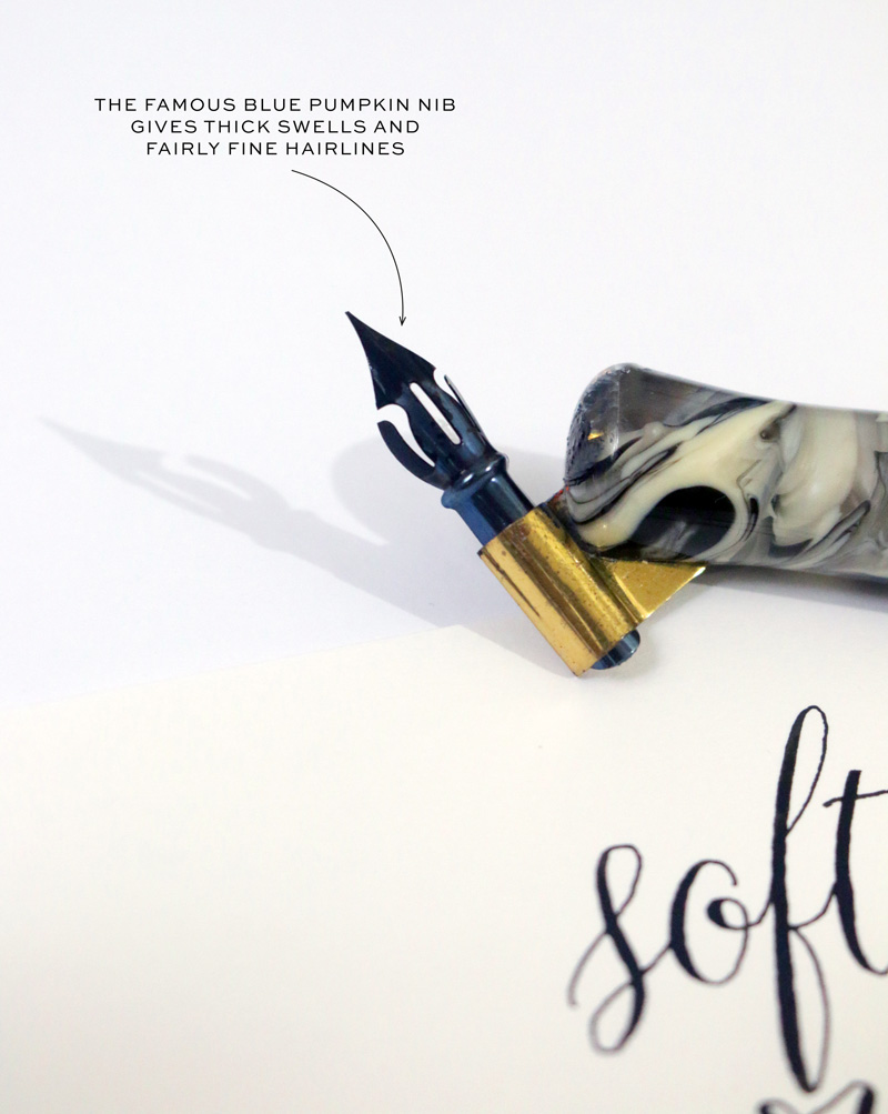 Calligraphy Nib Review: Leonardt 40 Blue Pumpkin via Happy Hands Project