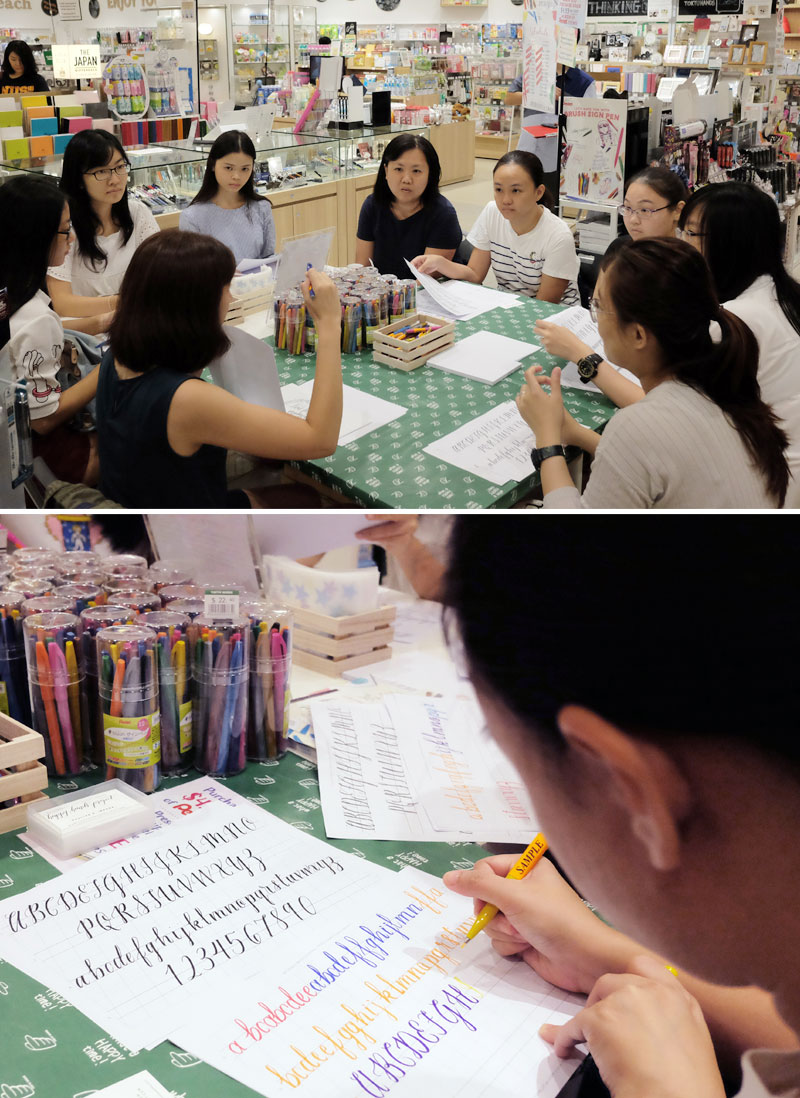 Brush Lettering Workshops with Pentel via Happy Hands Project