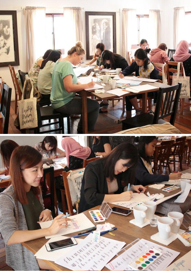 Watercolour Brush Lettering Workshop via Happy Hands Project