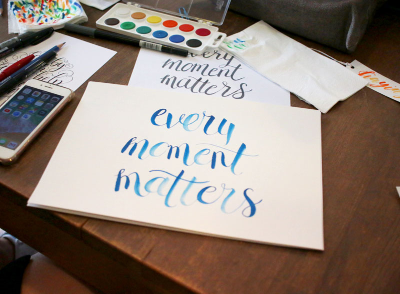 Watercolour Brush Lettering Workshop via Happy Hands Project