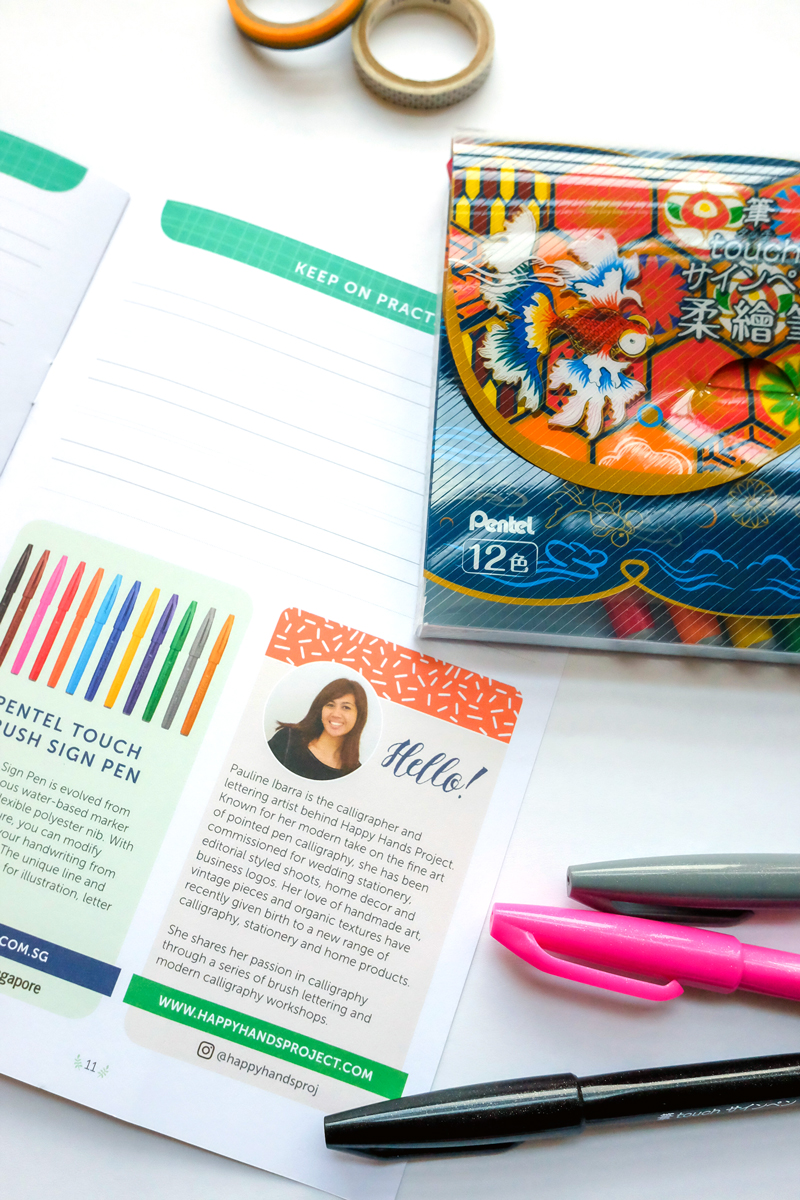 Pentel Brush Lettering Booklet via Happy Hands Project