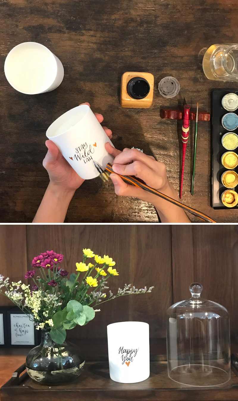 Calligraphy Candles for My French Concession via Happy Hands Project