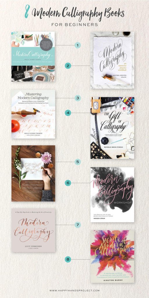8 Modern Calligraphy Books For Beginners via Happy Hands Project