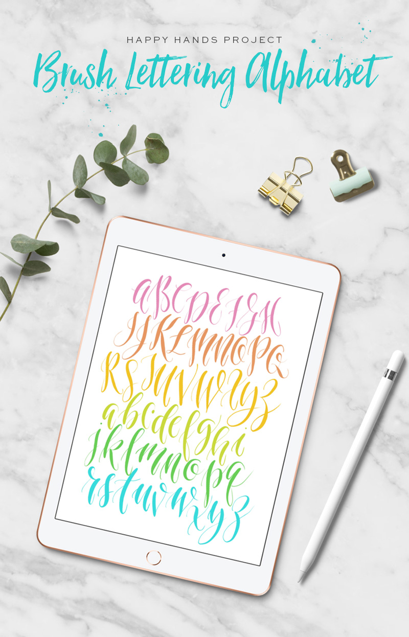 Free Brush Lettering Alphabet Exemplar via Happy Hands Project